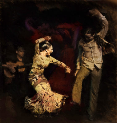Flamenco guitarist and woman dancer, man dancing beside her